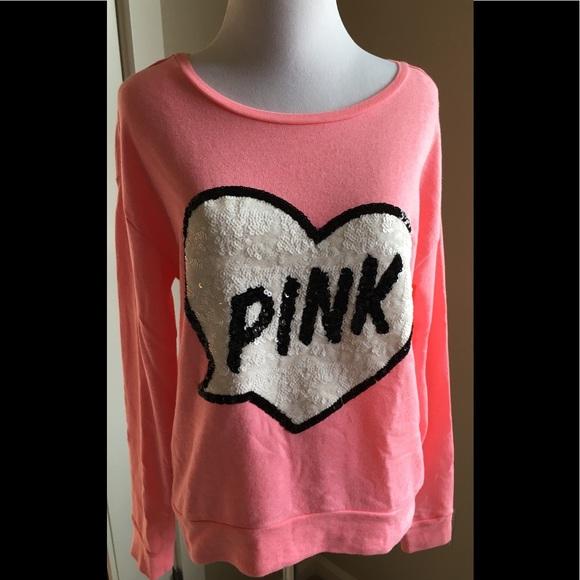 PINK Victoria's Secret Tops - Pink Victoria's secret sequin heart sweatshirt XS
